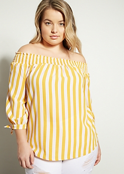 Plus Mustard Striped Smocked Off The Shoulder Blouse