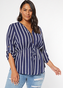 Plus Navy Striped Half Zip Blouse