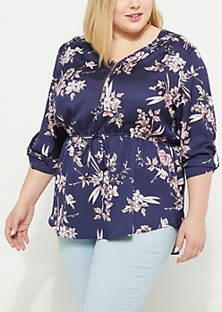 Plus Navy Floral Zip Front Tie Waist Blouse