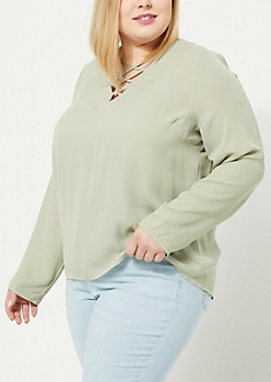 Plus Light Green Lattice Blouse