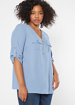 Plus Blue Half Zip Utility Pocket Blouse