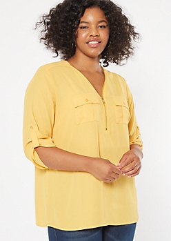 Plus Mustard Half Zip Utility Pocket Blouse