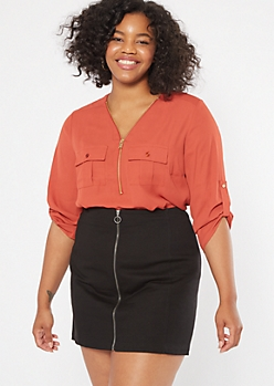 Plus Burnt Orange Half Zip Utility Pocket Blouse