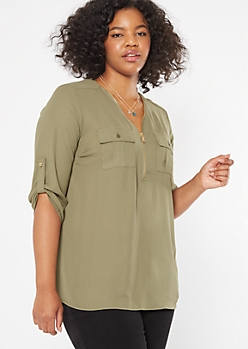 Plus Olive Half Zip Utility Pocket Blouse