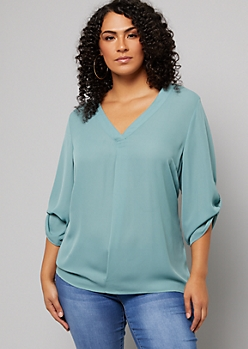 Plus Muted Mint Rolled Tab V Neck Blouse
