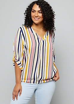 Plus Pink Striped Rolled Tab V Neck Blouse