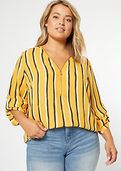 Plus Mustard Striped Zip Front Roll Tab Blouse