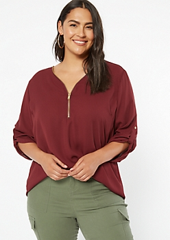 Plus Burgundy Zip Front Roll Tab Blouse