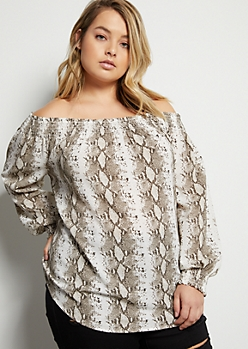 Plus Snakeskin Smocked Off The Shoulder Crepe Top