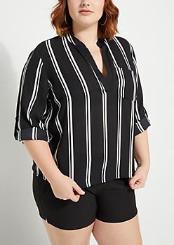 Plus Black Striped V Neck Blouse