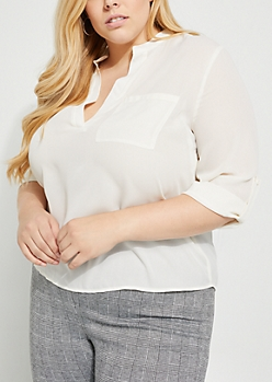 Plus Ivory Chiffon Tab Collar Blouse