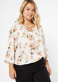Plus Ivory Floral Print Crisscross Front Blouse