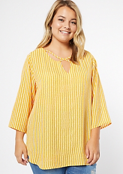 Plus Mustard Striped Crisscross Front Blouse