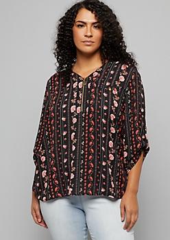 Plus Black Paisley Print Zipped V Neck Pullover Blouse