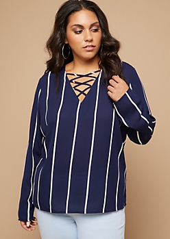 Plus Navy Striped Pattern Long Sleeve Crisscross Neck Blouse