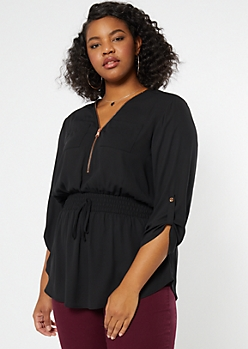 Plus Black Smocked Waist Top