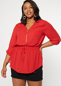 Plus Red Smocked Waist Top