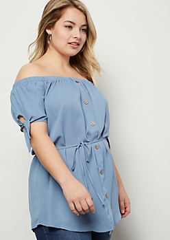 Plus Blue Off The Shoulder Button Down Top