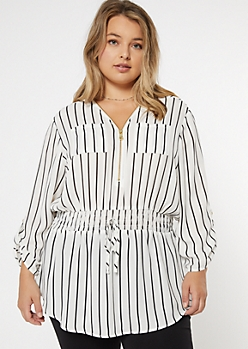 Plus White Striped Smock Waist Tunic