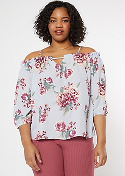 Plus Blue Floral Print Cold Shoulder Blouse