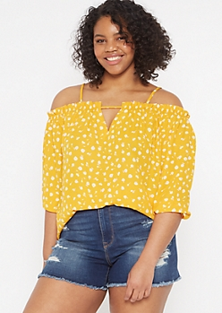 Plus Yellow Floral Print Cold Shoulder Blouse