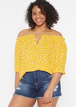 Plus Yellow Floral Print Cold Shoulder Blouse