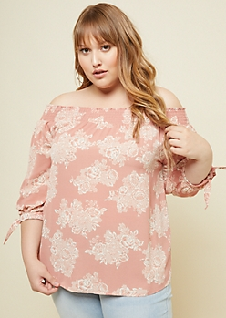 Plus Pink Floral Print Smocked Tie Sleeve Top