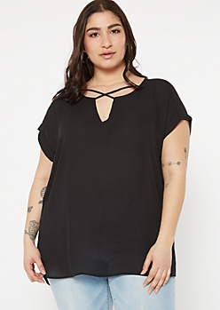 Plus Black X Front V Neck Top