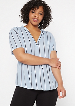 Plus Blue Striped Duo Woven Blouse