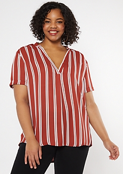 Plus Cognac Striped Duo Woven Blouse