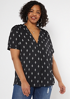 Plus Black Diamond Print Duo Woven Blouse