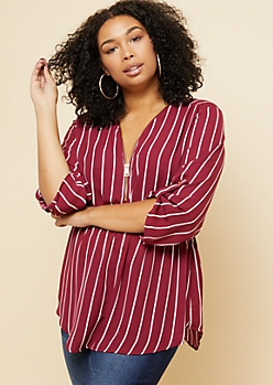 Plus Burgundy Striped Zip Front Oversized Top