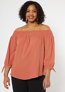 Plus Burnt Orange Off The Shoulder Top