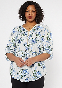 Plus Ivory Floral Print Smocked Waist Top
