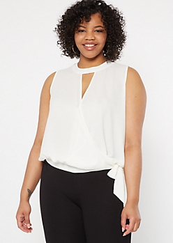Plus White Surplice Keyhole Tank Top