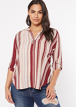Plus Burgundy Striped High Low Tunic Top