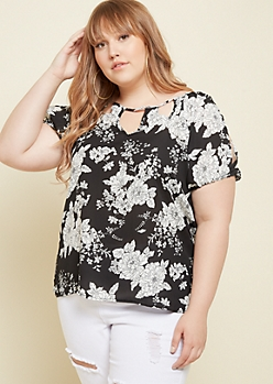 Plus Black Floral Print Split Sleeve Top