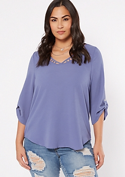 Plus Periwinkle Ladder V Neck Roll Tab Top