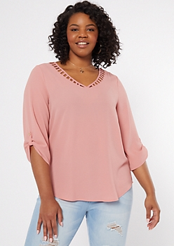 Plus Pink Ladder V Neck Roll Tab Top