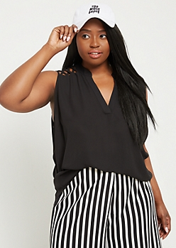 Plus Black Lattice Shoulder Tank Top