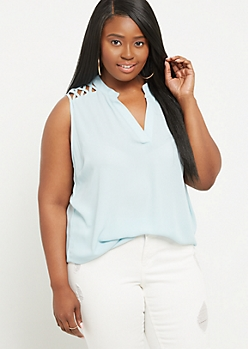 Plus Light Blue Lattice Shoulder Tank Top