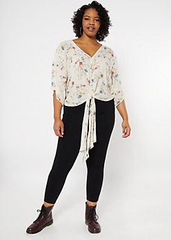 Plus Ivory Floral Print Front Tie V Neck Top