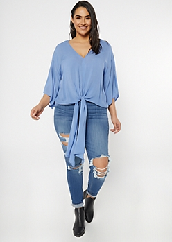 Plus Blue Dolman Front Tie V Neck Top
