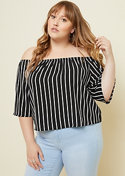 Plus Black Vertical Striped Off The Shoulder Top