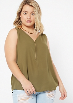 Plus Olive Zip V Neck Sleeveless Blouse