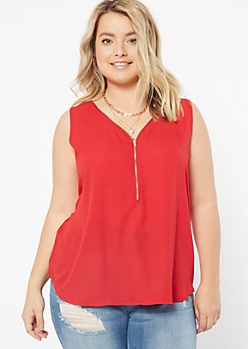 Plus Red Zip V Neck Sleeveless Blouse