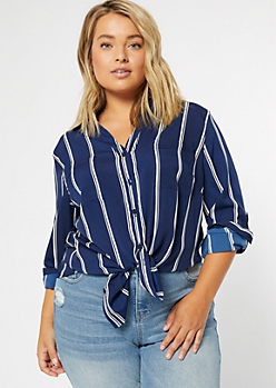 Plus Navy Striped Roll Tab High Low Shirt