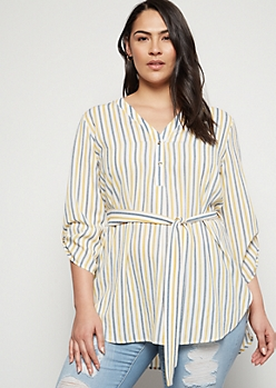 Plus Blue Striped Belted Pullover Blouse