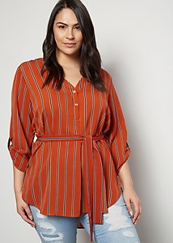 Plus Burnt Orange Striped Tie Belt Blouse