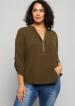 Plus Olive Zip V Neck Pullover Blouse